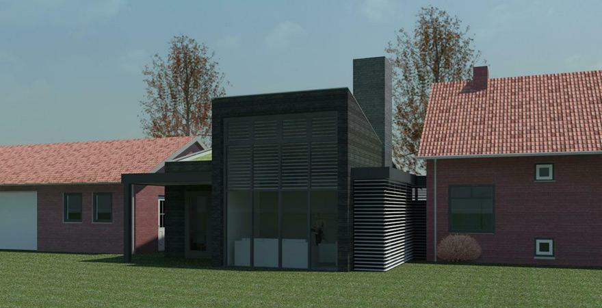 Visualisatie houten gevel, veranda, schoorsteen met haard te Zuilichem