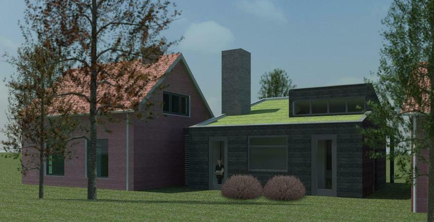 Visualisatie aanbouw met groendak, houten geveldelen te Zuilichem