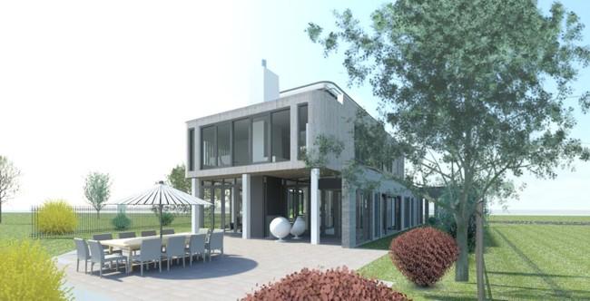 Villa water Cuijk houten gevel beton kolommen modern wonen aan het water achtergevel langs terras
