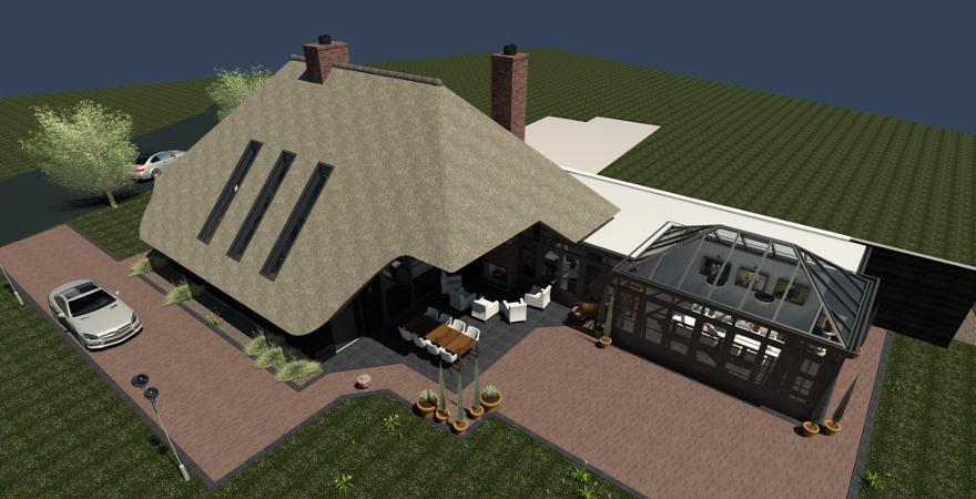 Rieten dak Houten gevel