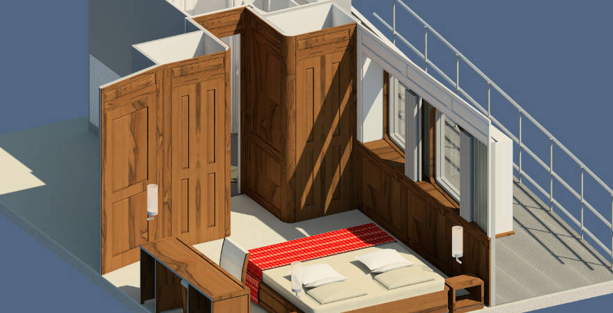 Cabin design 3D | interieur | inkijk hut