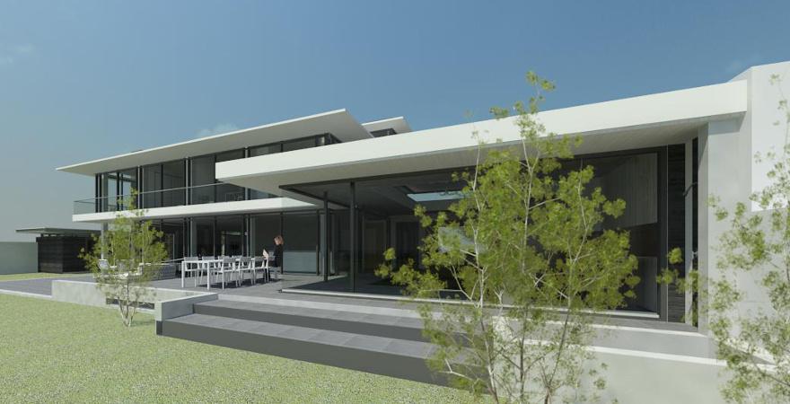 Moderne woning met binnenzwembad en glasgevels