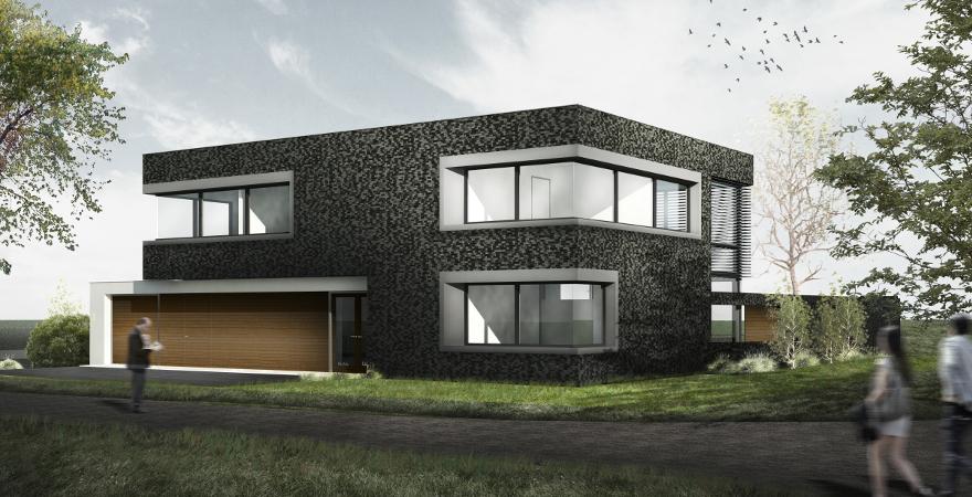 Moderne woonvilla, met bijzonder contrasterend en aanvullend materiaalgebruik | Architect: P. Maurer 's-Hertogenbosch