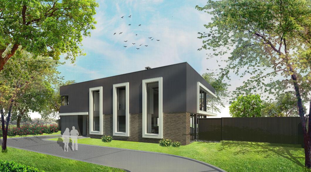 Moderne villa woning hoge ramen huis