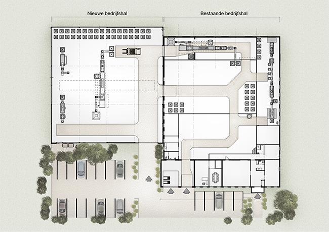 Realisatie ontwerp en uitwerking bedrijfshal for Ontwerp plattegrond