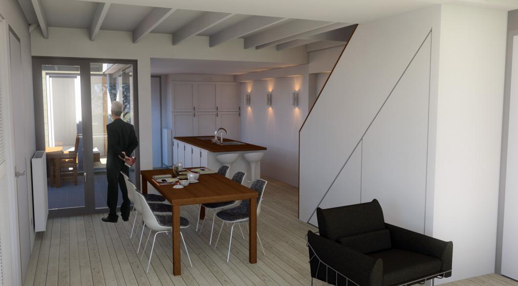 Interieur vanuit woonkamer verbouwing en renovatie woning beschermd dorps en stadsgezicht