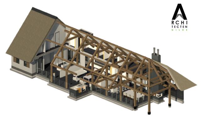 Afbeelding: Opengewerkte 3D-visualisatie waarbij de eikenhouten constructie inzichtelijk wordt weergegeven.