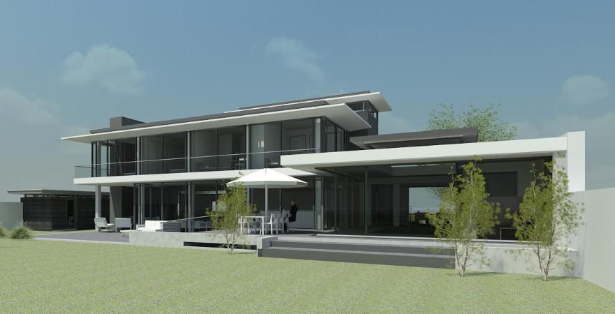 Moderne villa, architectonisch lijnenspel dakrand en glazen gevels te Vught | Architect: P. Maurer te Den Bosch