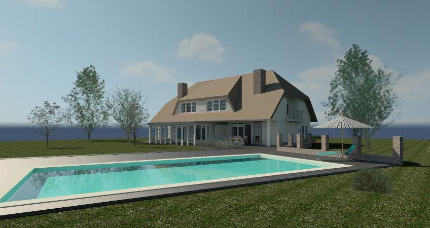 Zwembad bij woning in landhuis / boerderij stijl