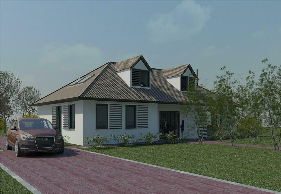 Perspectief woning, 3D ontwerp door architect, locatie Wijk en Aalburg