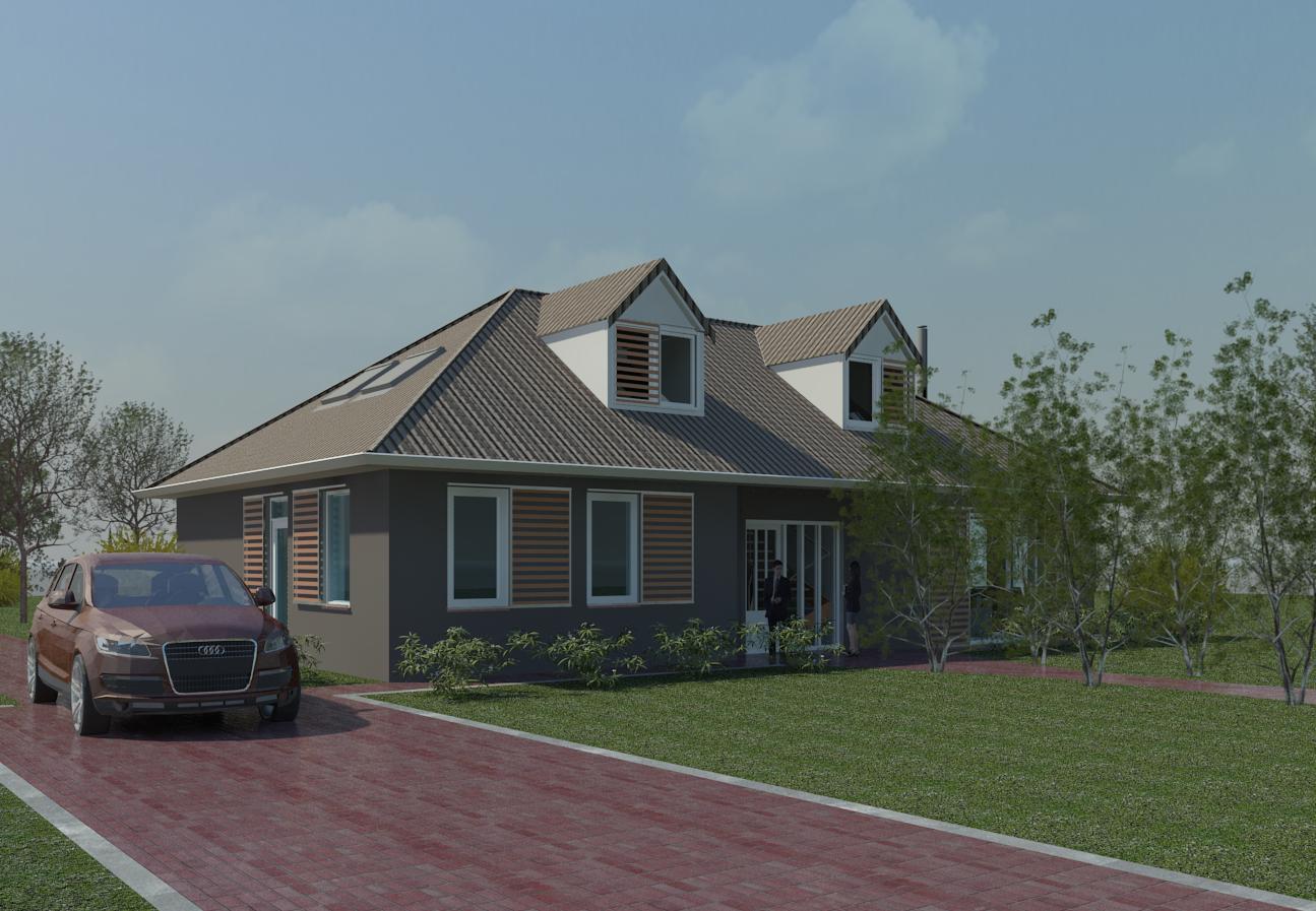 Voorgevel renovatie vrijstaande woning jaren 90 nieuwe kleurstelling antraciet Red cedar gevelschermen