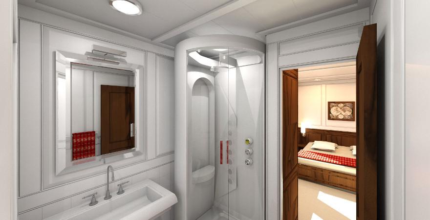 Badkamer met doorkijk naar VIP-cabin | Luxury Yacht design!