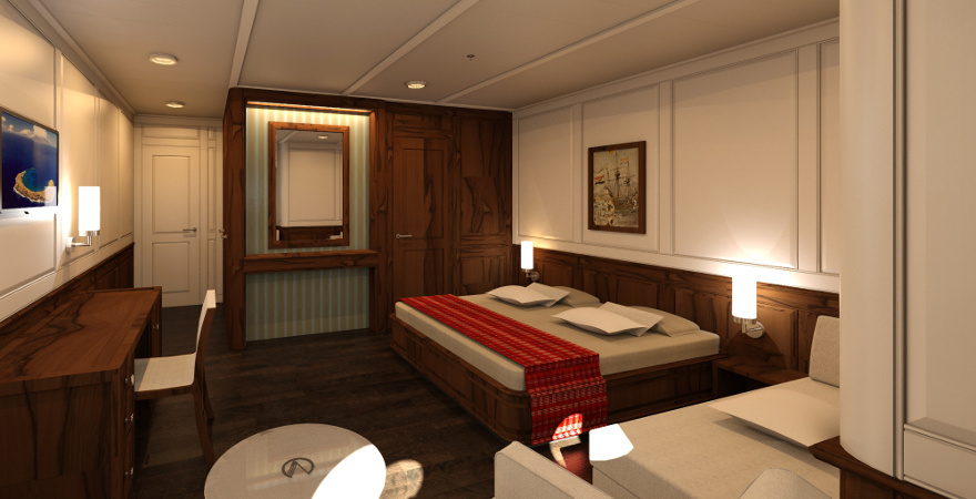 Sail Yacht interior design - 3 persons Cabin