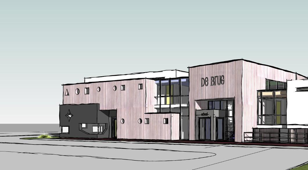 Basisschool met peuterspeelzaal, elk een eigen identiteit door houten gevel en stucwerk, Ontwerp architect.