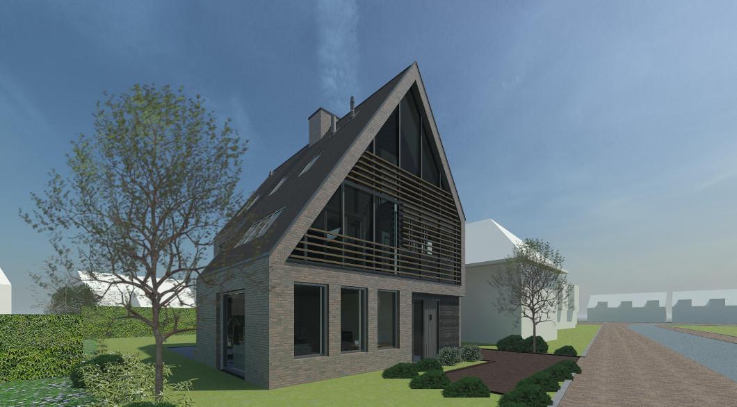 Bijzondere woning door Architect, Voorgevel zuidgevel woning. Houten lamellen zonwering.