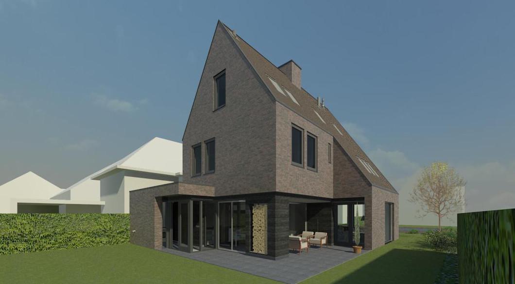 Tuinzijde veranda met buitenhaard en terugliggende houten gevel met glas. Moderne woning onder architectuur ontworpen. Welstand goedkeuring met lof!