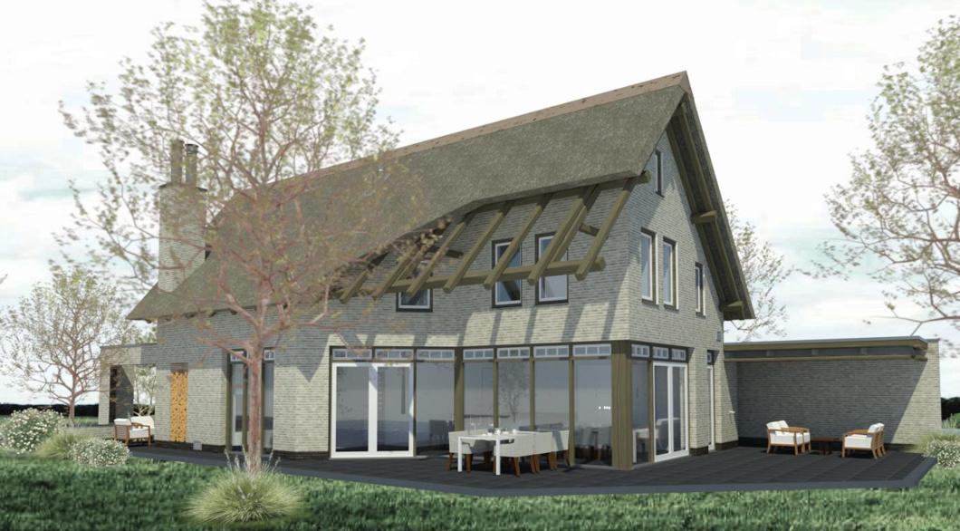 Eikenhouten dakconstructie dak riet villa