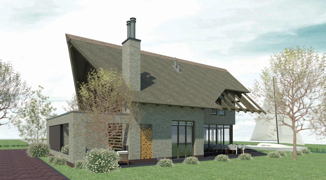 Woning ontwerp dak van riet en eikenhouten constructie in het zicht.