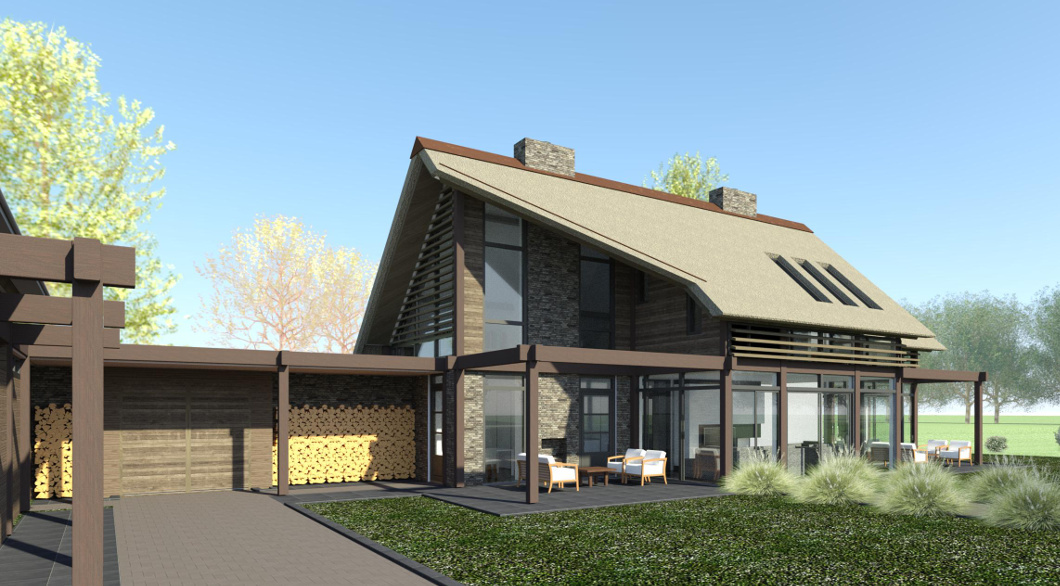 Post Beam Post&Beam woonvilla, woning met rieten dak ontwerp