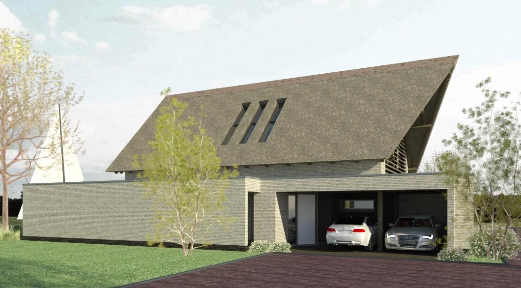 Woning met rieten dak modern wit-zandsteen-kleurig metselwerk dakconstructie ambachtelijk eikenhout