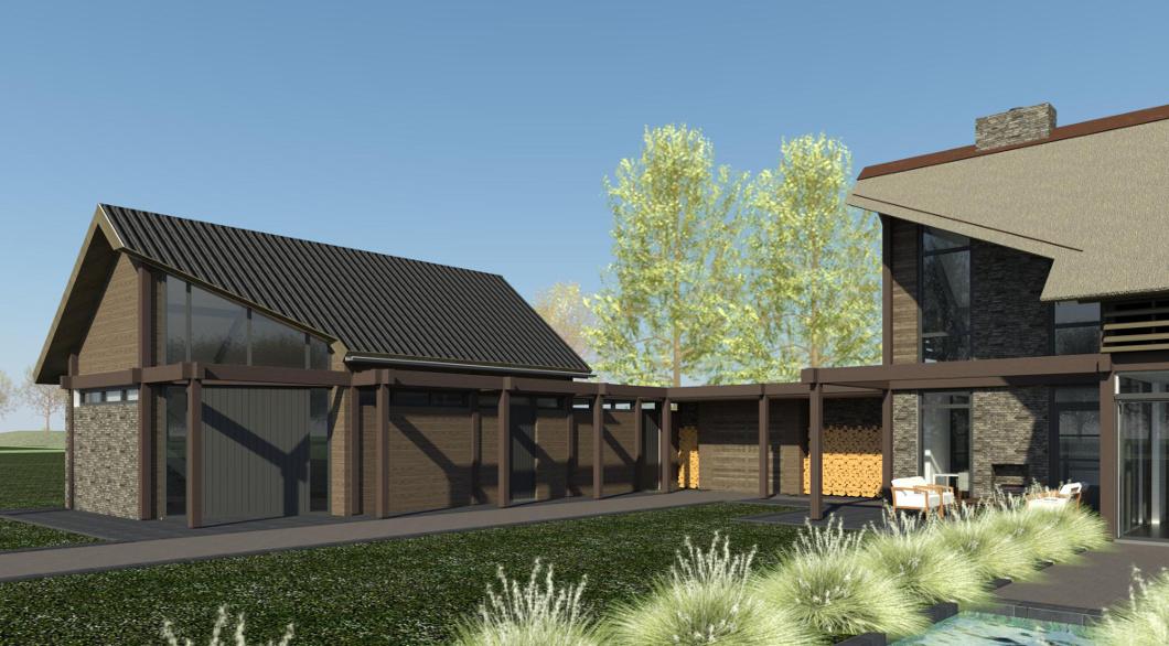 Schuin dak met riet en pannen, afschuining dak - woning ontwerp