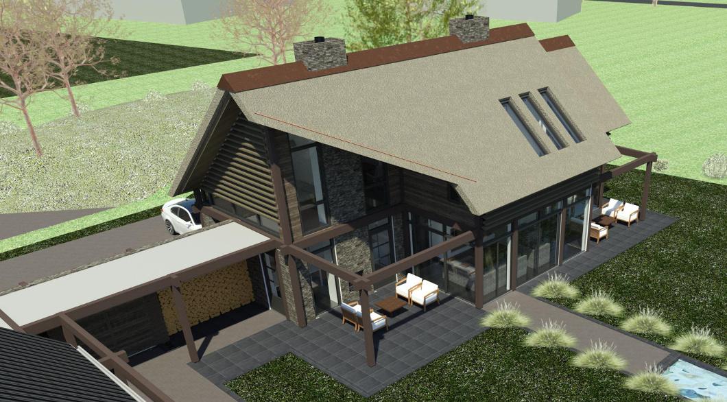 Woning ontwerp rieten dak met veranda buitenhaard veel glas