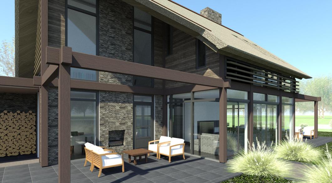 sfeervol woning ontwerp met buitenhaard in veranda en veel glas in gevel architect