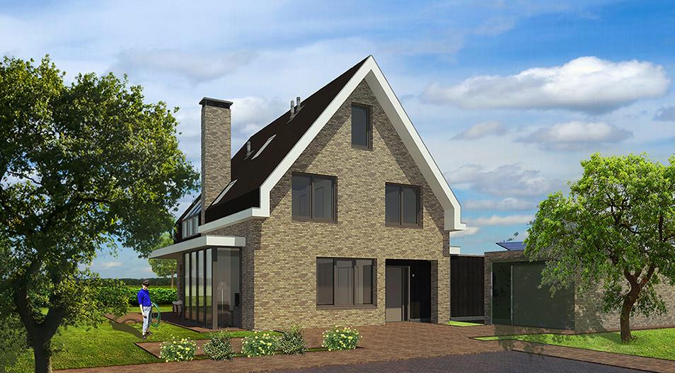 Vrijstaande woning modern metselwerk witte dakrand
