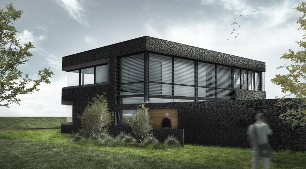 Antraciet gevel hout moderne strakke woonvilla
