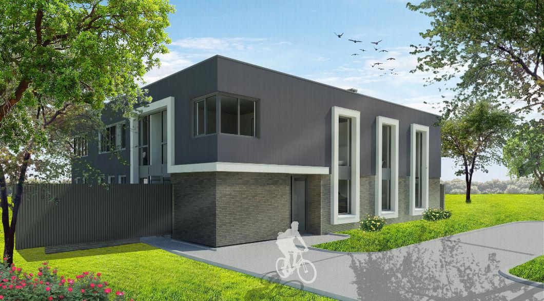 Architect moderne villa woonhuis metselwerk stucwerk gevel wit kader