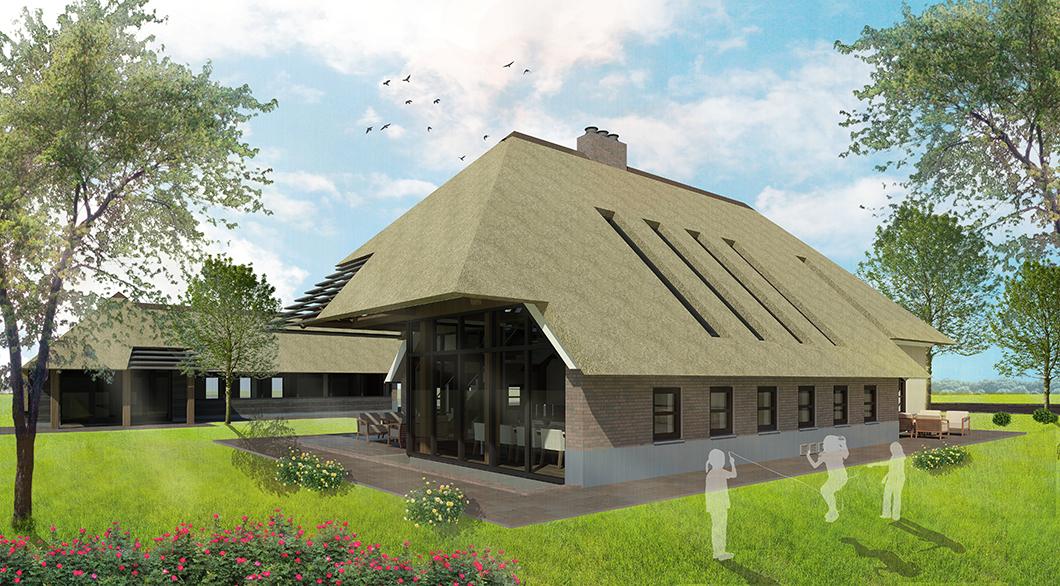 Hedendaagse woonboerderij dakoverstek rieten dak daklamellen