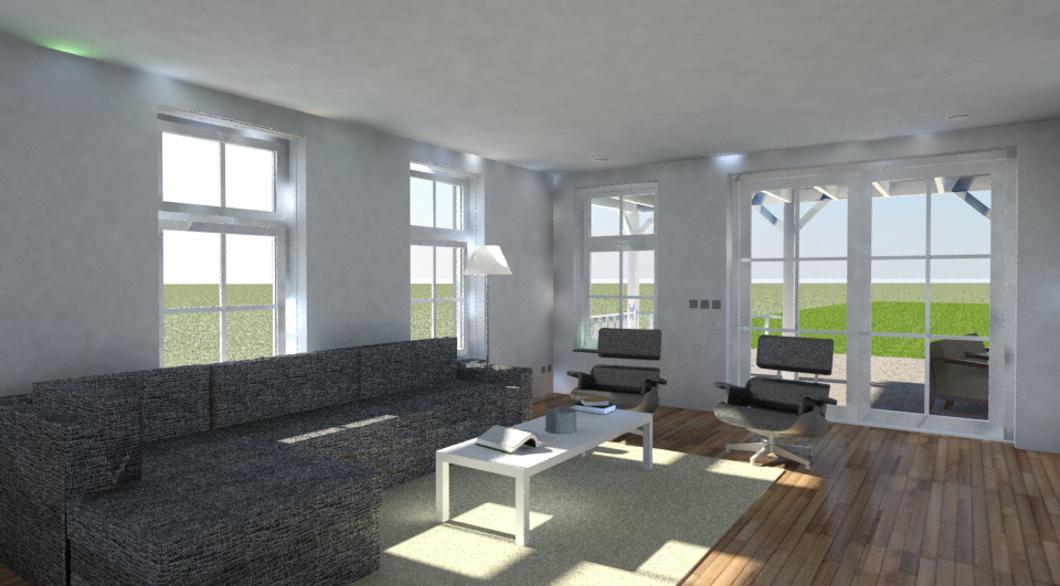 Interieur visualisatie woning traditioneel roeden ramen tuindeuren
