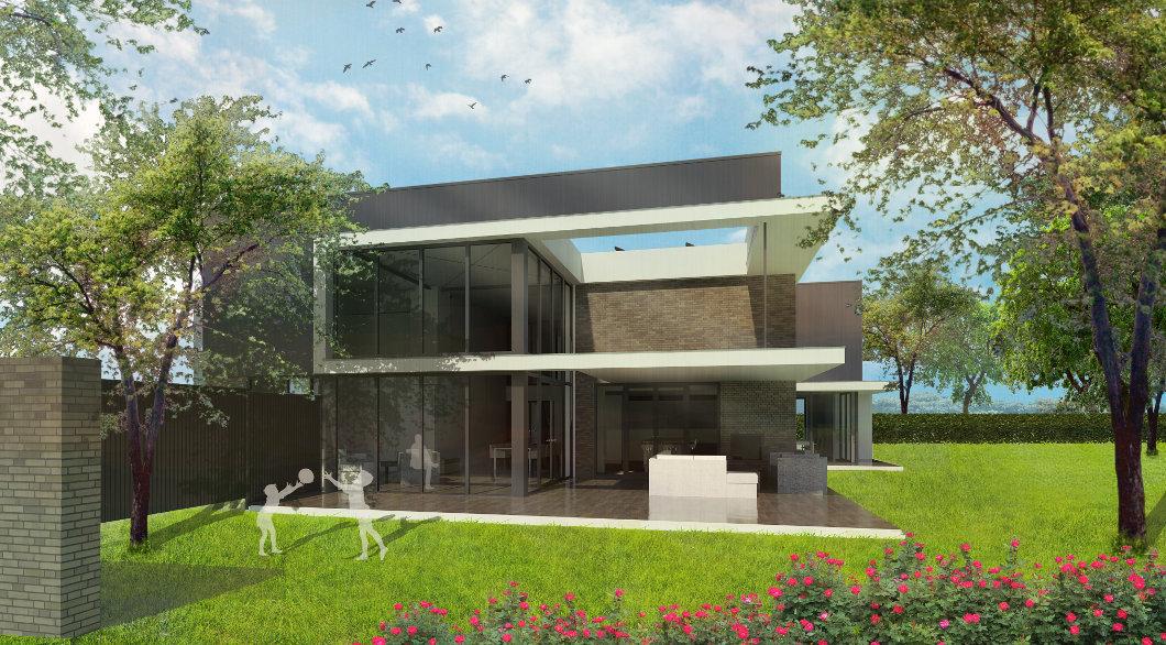 Luxe woonvilla ontwerp glasgevel daklijst veranda tuin