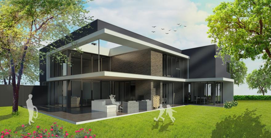 Moderne villa te Vught, met grote raampartijen, veranda met buitenhaard en luifel-lijnenspel | Architect Den Bosch