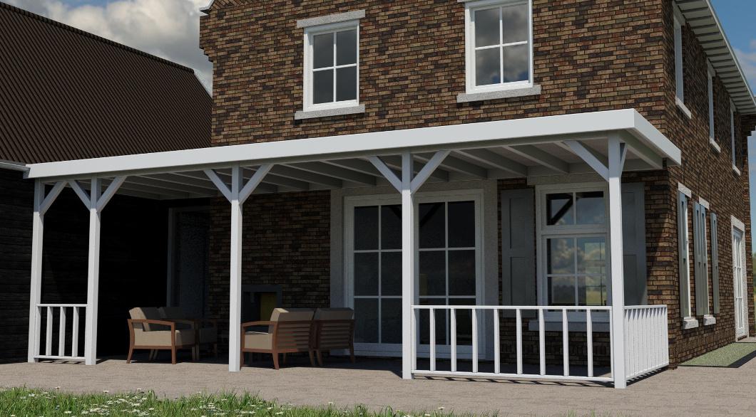 Traditionele woning omlijsting kozijnen houten veranda tuindeuren