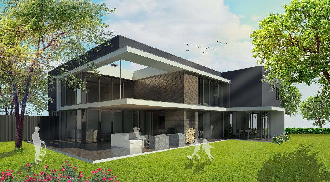 Tuingevel veranda moderne villa luifel