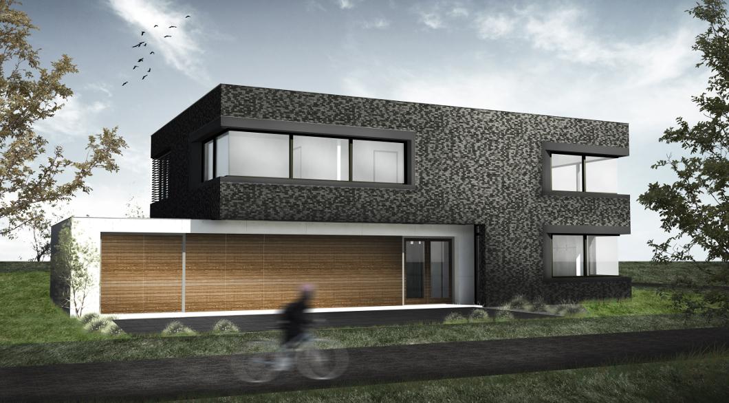Villa Verborgen entree garage betonnen muur hoekramen