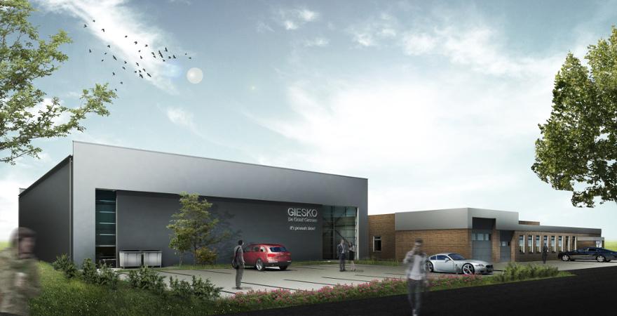 Ontwerp bedrijfshal (productieruimte met daglichtinval en zonnepanelen) | Architect: P. Maurer 's-Hertogenbosch