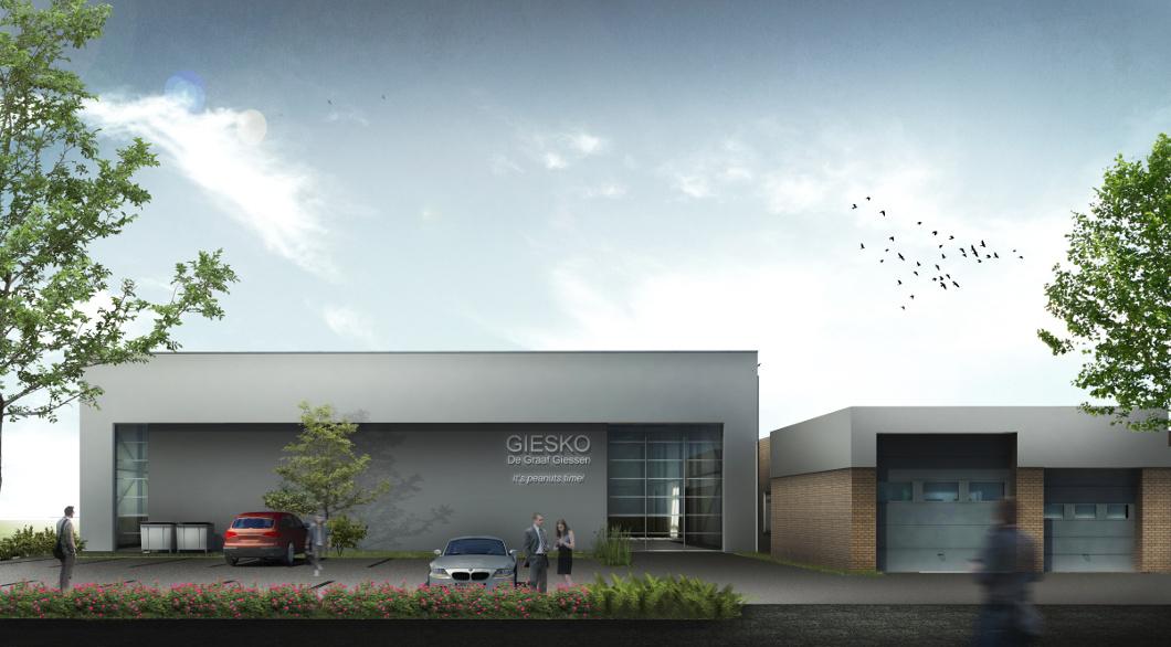 Ontwerp Nieuwe bedrijfshal architect Voorgevel tekenbureau