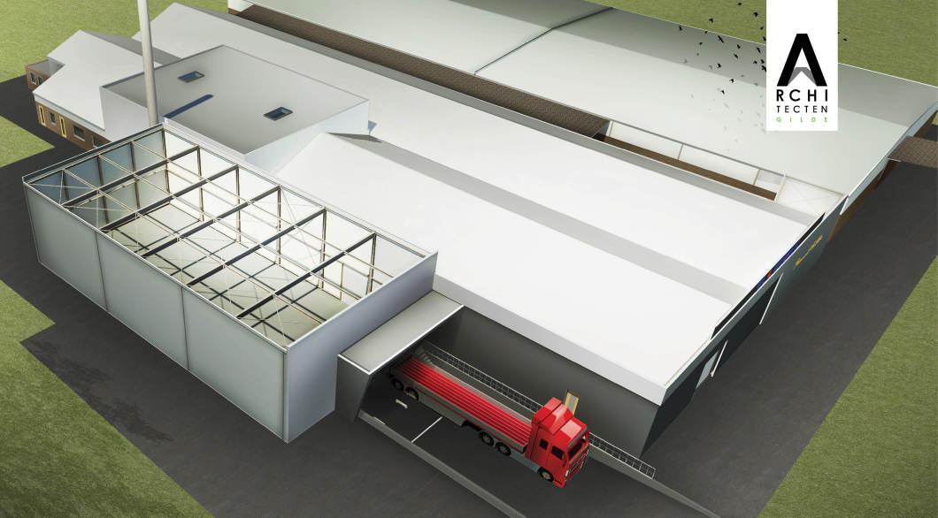 Bouwen bedrijfshal laden lossen vrachtwagens ontwerp architect