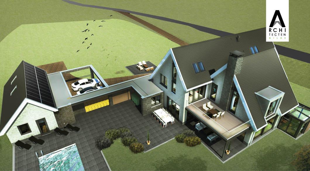 Vogelvlucht ontwerp Villa dubbele-garage zwembad privacy bijzonder sfeervol wonen