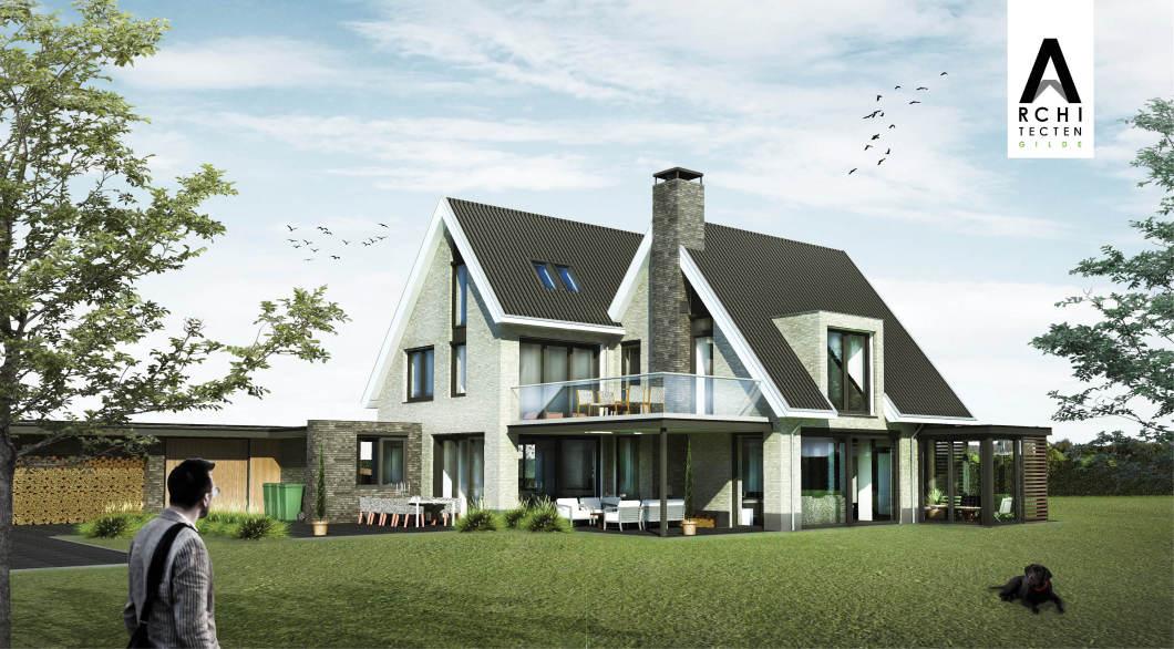 Woning dubbel-dak schoorsteen buitenhaard veranda serre
