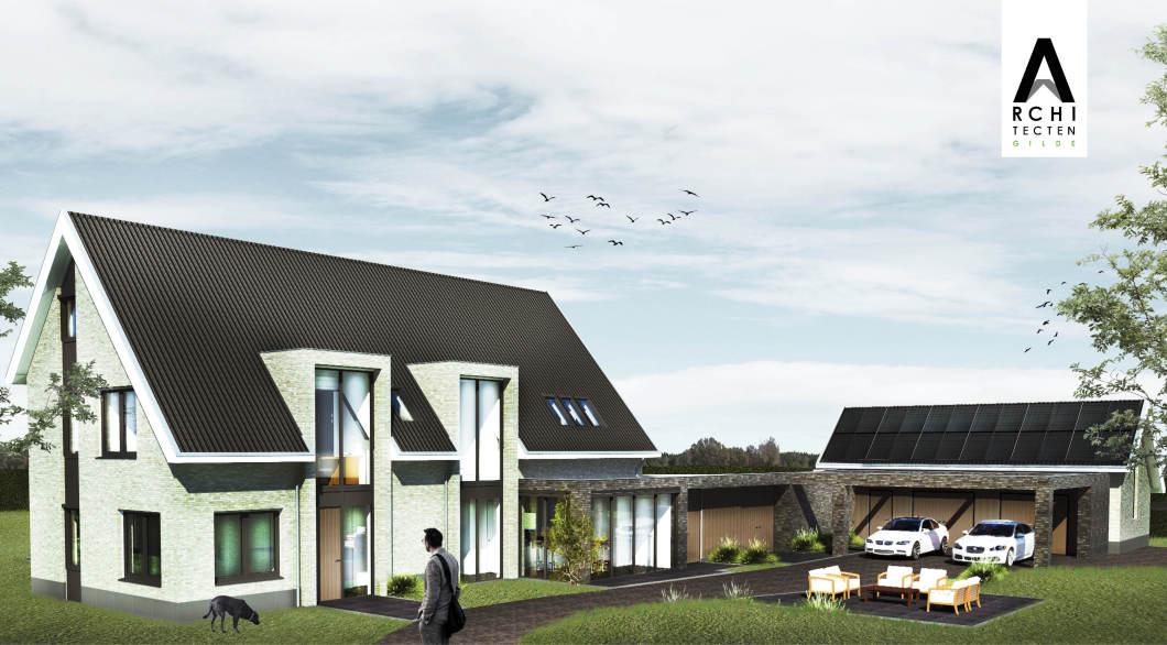 Woonvilla schuin dak portalen entree uitbouw carport-garage architect