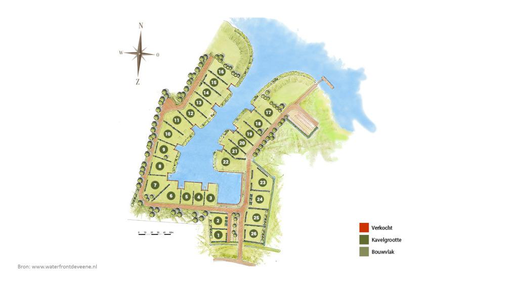 Bouwkavels te koop Waterfront De Veene kaveloverzicht