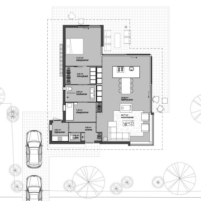 Gelijkvloerse woning ontwerp architect