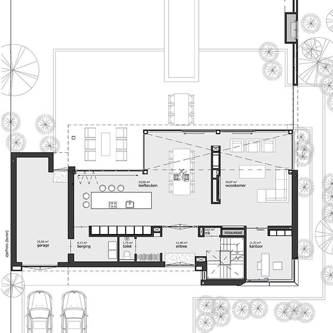 Plattegrond Begane grond Moderne woning villa met kelder en garage