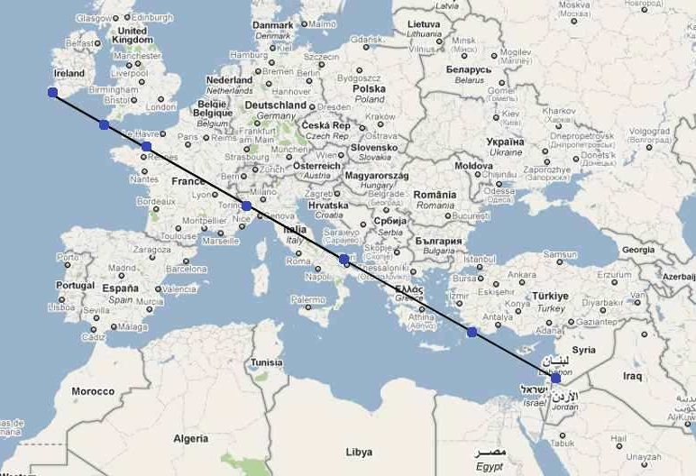 Aardstralen lijn door landen en plaatsen Sint Michele