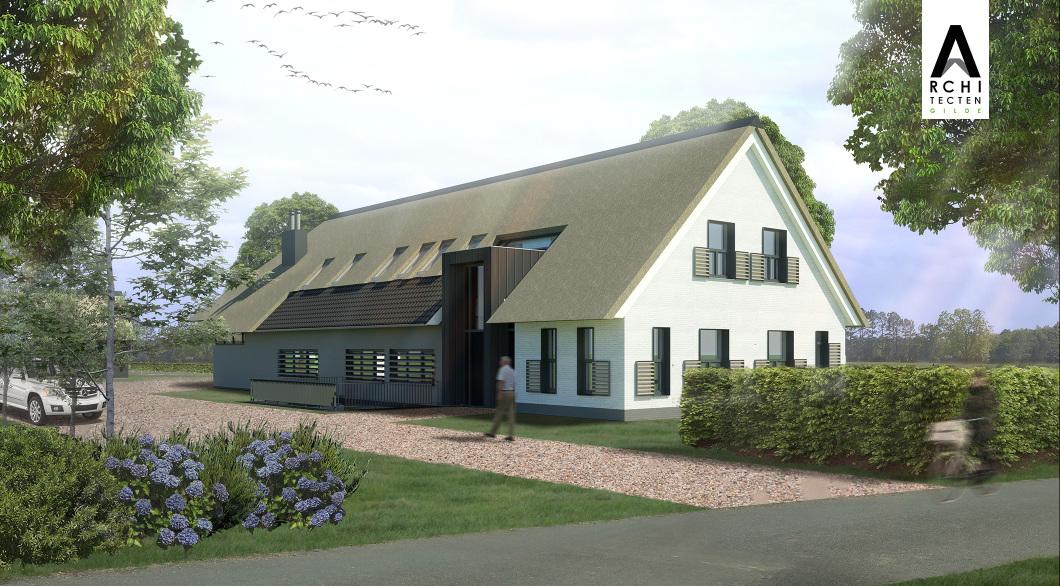 Aanzicht woonboerderij entree dak riet en pannen