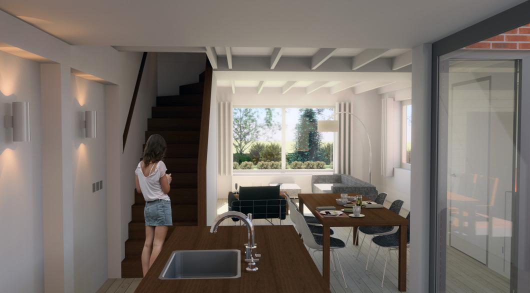 Interieur verbouwing woning van leefkeuken naar woonkamer
