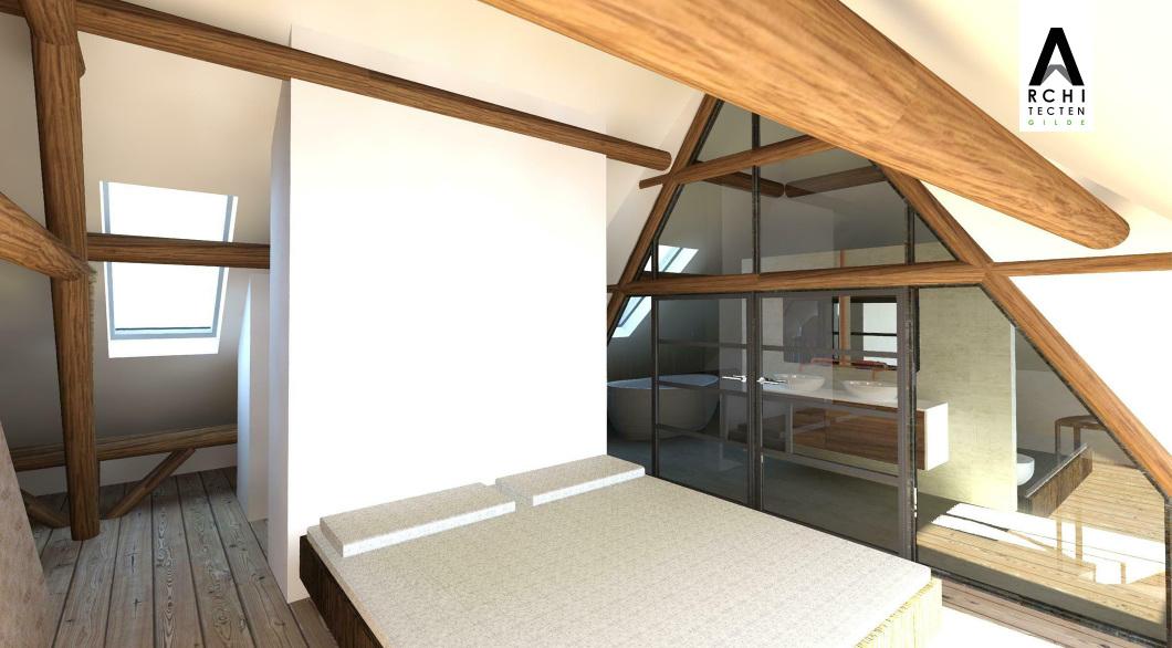 Interieur zolder boerderij slaapkamer